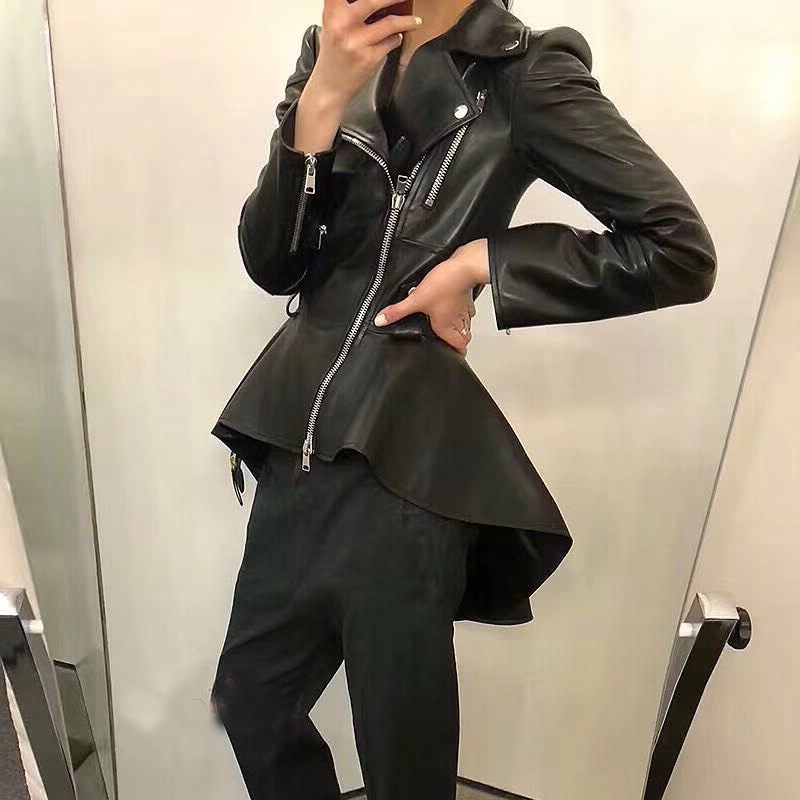 Autumn Black Gold Pu Leather Jacket Women Fashion Slim Long Motorcycle Coat Streetwaer Zipper Biker Jacket
