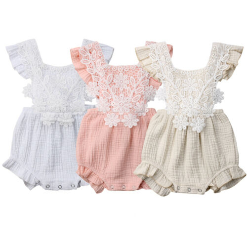 Newborn Baby Girls Lace   Romper   Jumpsuit Sleeveless Backless Kids Summer girl Cute Clothes 0-18M
