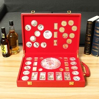 46Pcs Pig Commemorative Coin Year of Pig Collection Coins with Storage box diaplay Gift Home Car Decoration Gold/Silver Plated