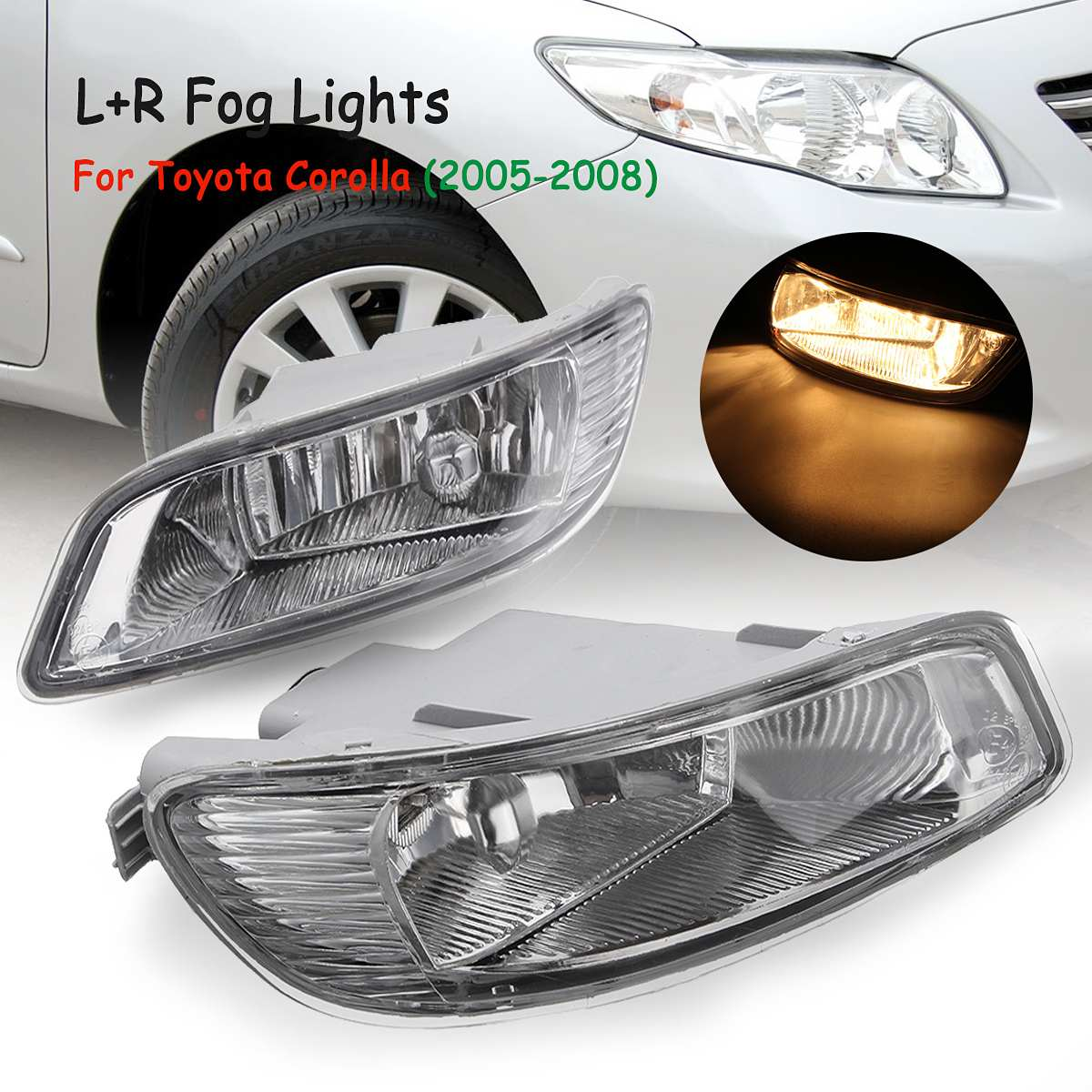 Front Bumper Clear Lens Fog Lights Driving Lamps For Toyota Camry 2002 2004 Corolla 2005 2008 Solara 2002 2003