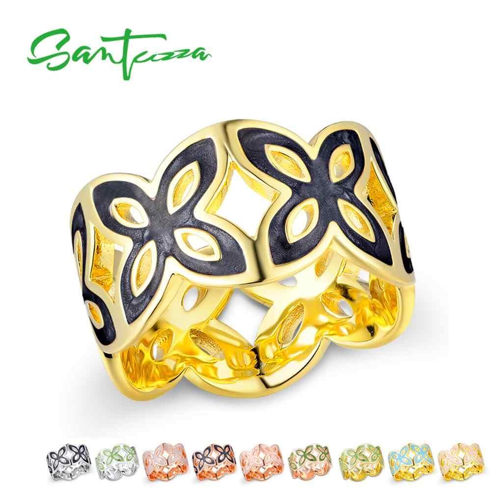 SANTUZZA Elegant แหวนผู้หญิง Glamorous Multi-สี Elegant ดอกไม้ Hollow แหวนอินเทรนด์แฟชั่นเครื่องประดับทำด้วยมือเคลือบ