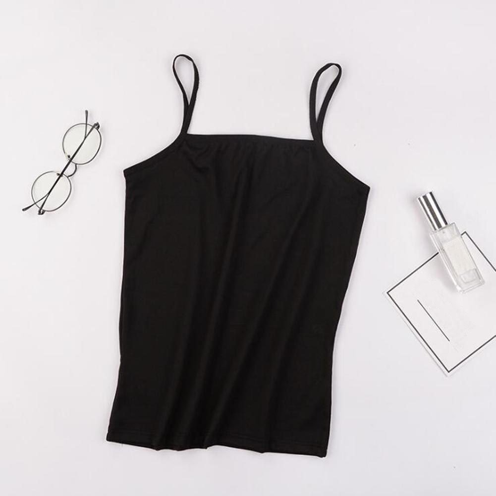 Women's Sexy Plain Camisole   Tank     Top   2019 Summer Solid Color Ladies Stretch Spaghetti Strap Bottoming Shirts Sling Vests   Tops