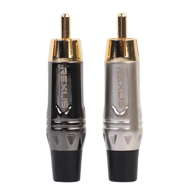 Professional RCA Gold Plated Wire Connector Cable RCA Male Plug Adapter Converter For Speaker Audio For Audio Cables