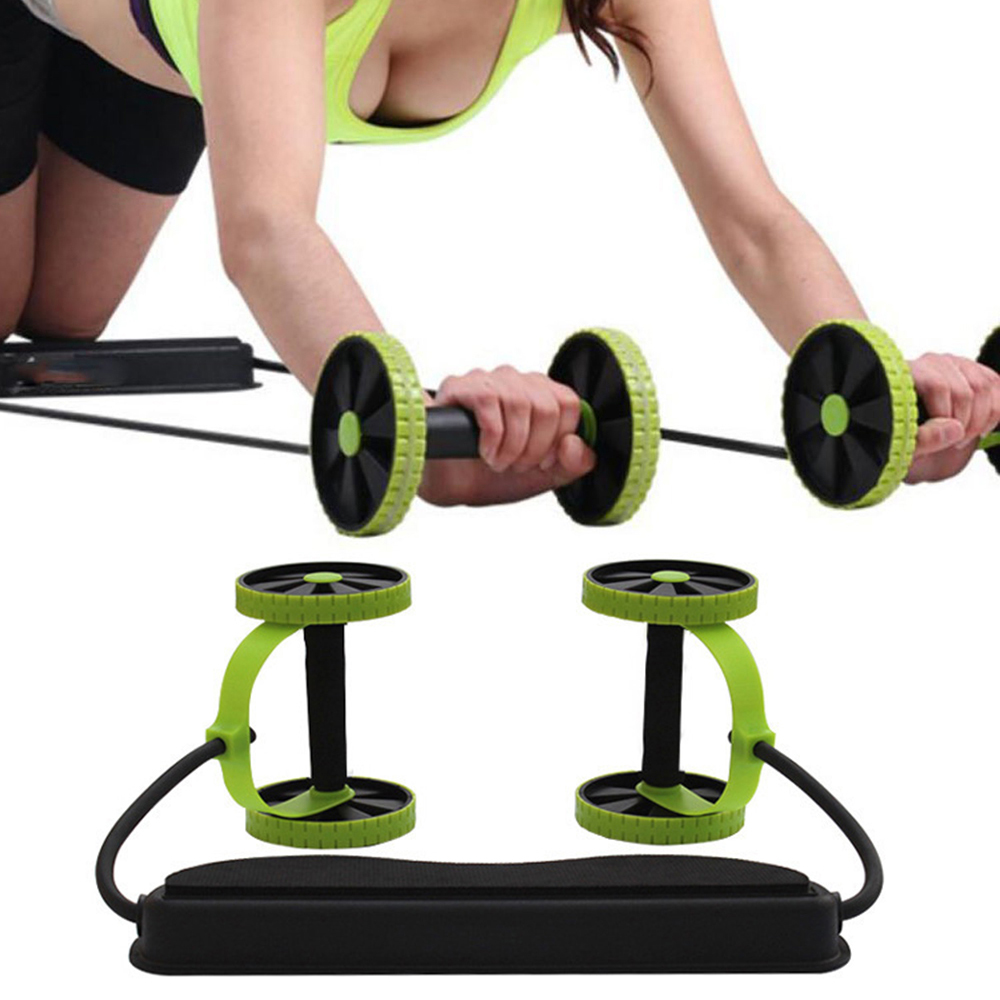 Double-Wheeled Power Wheel Elastic Resistance Pull Rope for Abdominal Muscle Trainer Abs Roller Home Gym Fitness Equipment HWC