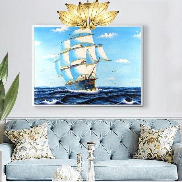 HUACAN Ship Diamond Painting Cross Stitch Needlework Craft Gift DIY 5D Diamond Mosaic Embroidery Landscape Patterns