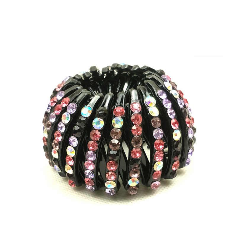 สาว 8 สี Curler Roller Headwear ผู้หญิงบางผมอุปกรณ์ผู้ถือหางม้า Bird's Nest 1PC คริสตัลเด็ก