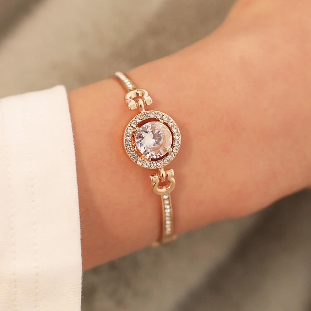 XIUFEN New Women Bangles Silver Gold Color Simple Elegant Shinning Rhinestone Bracelet Female Jewelry