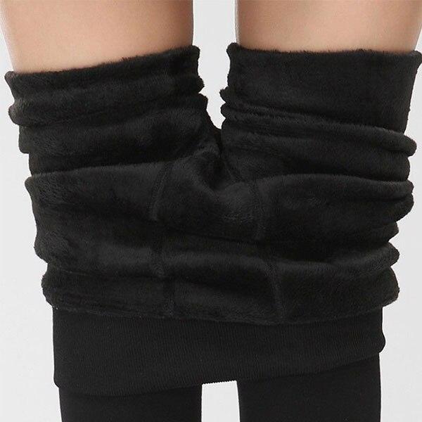 Women Heat Fleece Winter Stretchy Leggings Warm Fleece Lined Slim Thermal Pants KQS8