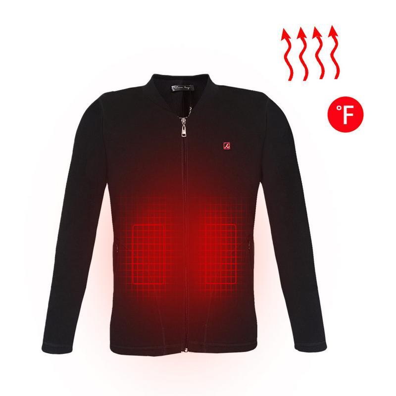 Femmes hommes USB électrique chauffé de base chemise vêtements hiver Plus chaud chauffé gilet chauffage Intelligent Plus velours couleur métallique Top