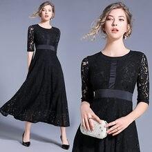 Женское облегающее платье с кружевом Дизайнерское черное элегантное