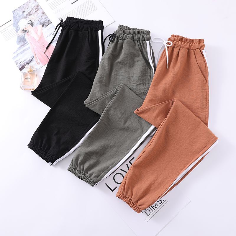 Trousers Women Sweatpants Summer 2020 Casual Loose Korean Fashion Side Striped High Wasit Joggers Streetwear Harem Pants Ladies
