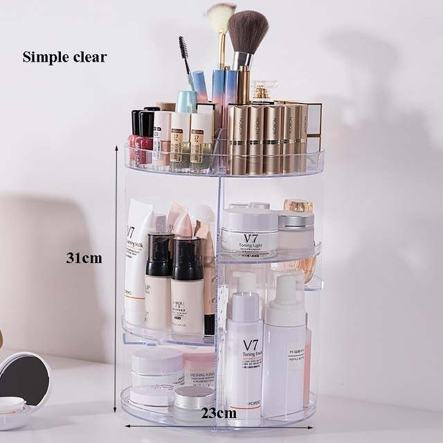 76c51d9a4245 360 Degree Rotating Acrylic Makeup Organizer Adjustable Large Capacity  Desktop Clear Cosmetic Storage Holder