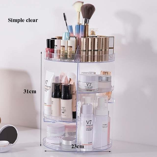 5761943c2c9c 360 Degree Rotating Acrylic Makeup Organizer Adjustable Large Capacity  Desktop Clear Cosmetic Storage Holder