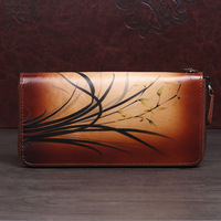 Genuine Leather Wallet Clutch Money Bag Coin Purse Card Holder Floral Pattern Female High Quality Long Wallets Women Purses