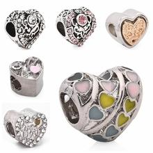 5pcs Alloy Love Heart Beads Hole 5mm Charm Crystal Pendant Bracelet Necklace for Women DIY Jewelry Making Handmade Accessories