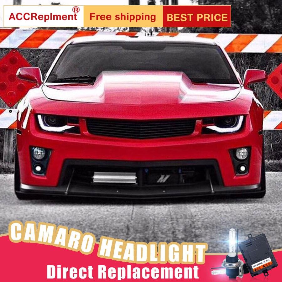 2Pcs LED Headlights For Chevrolet Camaro 2014 2015 led car lights Angel eyes xenon HID KIT
