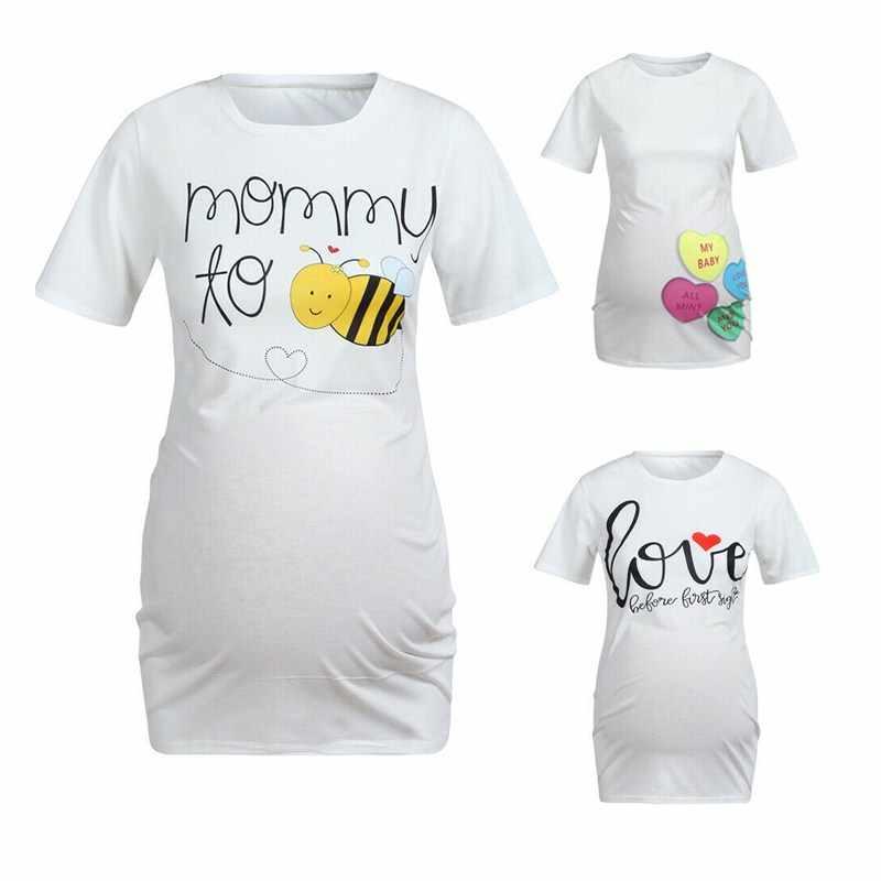 สตรีมีครรภ์ Maternity พยาบาล Tops Plain เสื้อยืดสบายๆสบายๆ Bees พิมพ์ของขวัญตลก