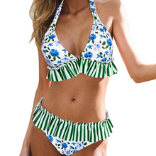 Women Floral Print Bikini Set Ruffles Top Padded Push-up Bra Swimsuit Swimwear Beachwear Female Halter Bathing Suit недорого