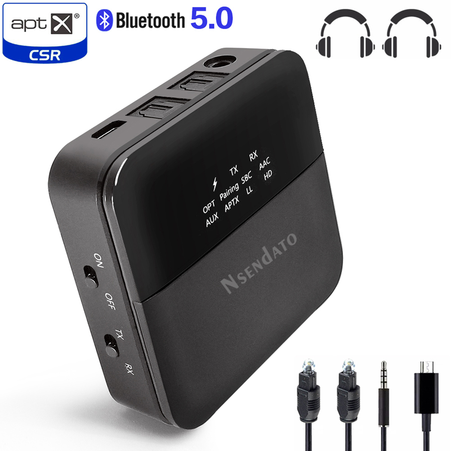 3 5mm HD Bluetooth 5 0 Audio transmitter receiver CSR8675 Wireless aptx audio Auto on Adapter for tv car aptX HD LL Low Latency