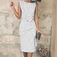 Sisjuly старинный карандаш платья для женщин для элегантный горошек офисные женские Туфли летние черные Bodycon Белый Ретро вечерние женск