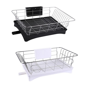 Image 1 - Stainless Steel Dish Drainer Drying Rack With 3 Piece Set Removable Rust Proof Utensil Holde For Kitchen Counter Storage Rack