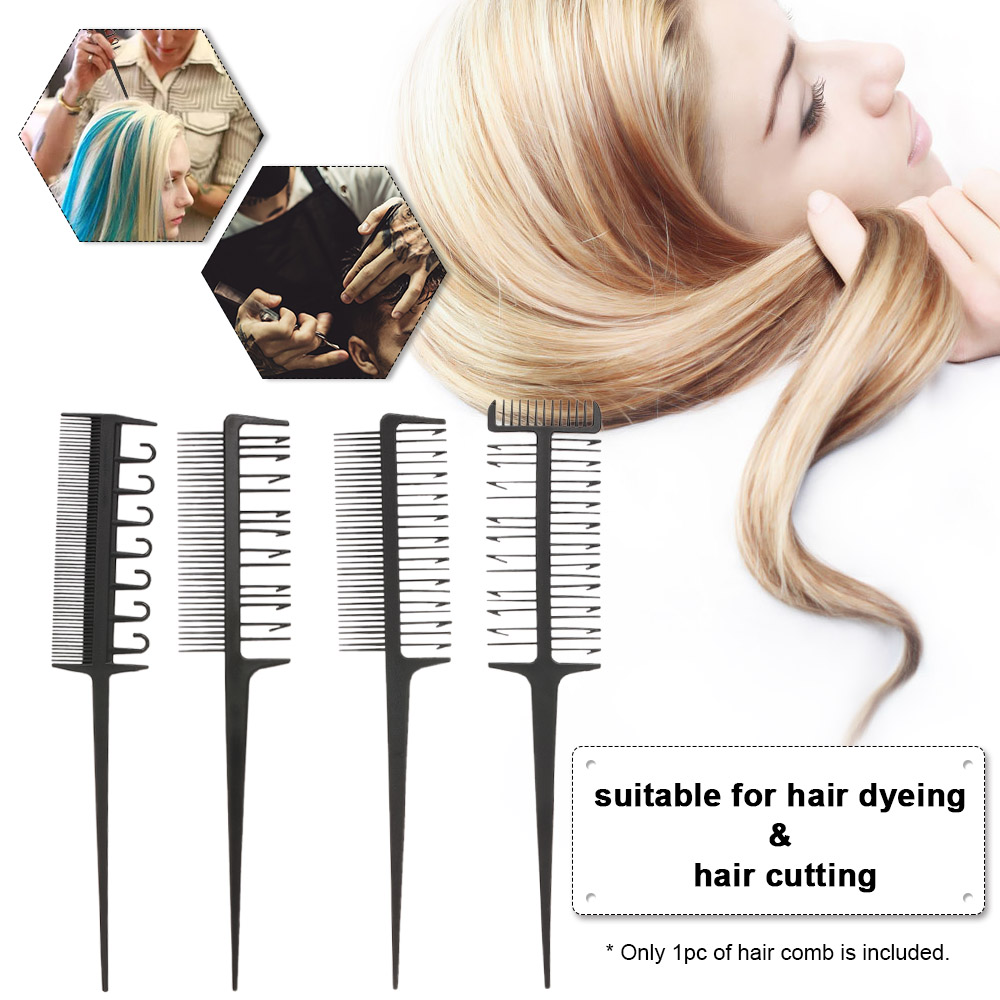 Hair Styling Coloring Dyeing Comb Salon Tool Sectioning Highlighting Weaving Cutting Comb For Hairdressing