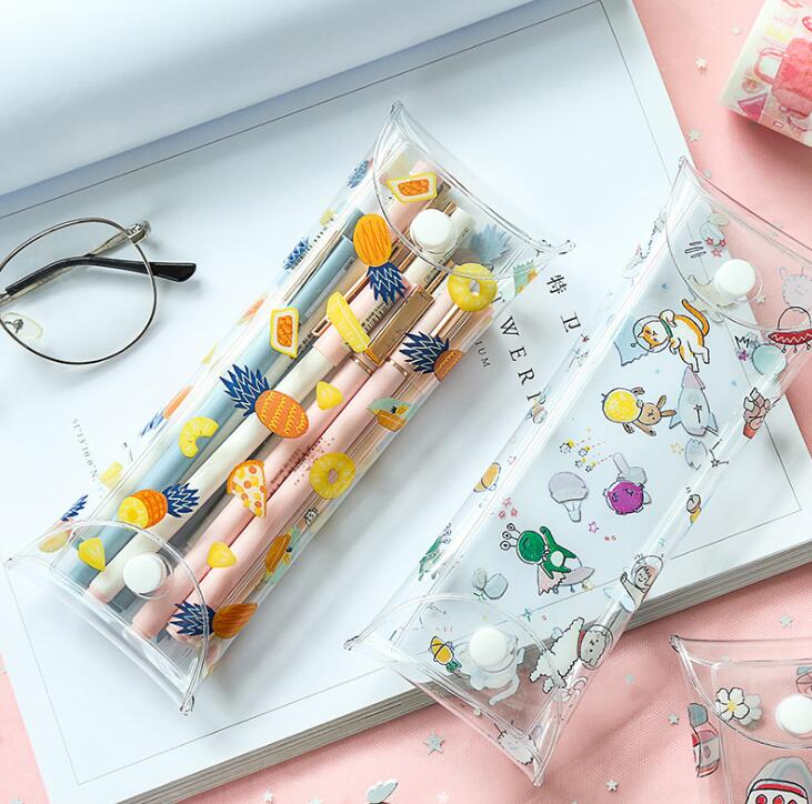 1Pcs Kawaii Transparent Plastic Eye Glasses Protector Case Metal Button PVC Pencil Case For Students Gift
