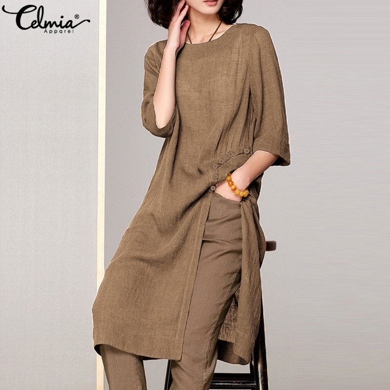 Celmia Women Blouses Vintage Linen Shirts 2019 Summer Plus Size Tops Half Sleeve Loose Split Casual Solid Long Blusas Femininas