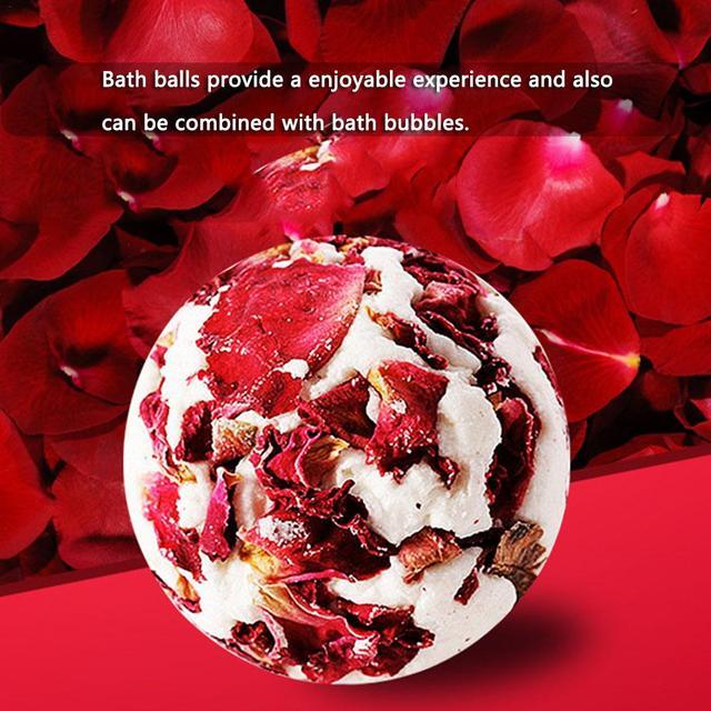 1pc Rose Essential Oil Bath Salt Ball Skin Moisturizing Soften Cuticle Relieve Fatigue Bubble Bathing Ball Bathing Supplies 1