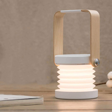 Creative wooden handle portable lantern lamp telescopic folding led table lamp charging night light reading lamp