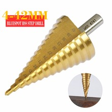 цена на 4 - 42mm Step Drill Bit HSS Steel Titanium Coated Cone Drill Bits Hole Metal Drill Tool