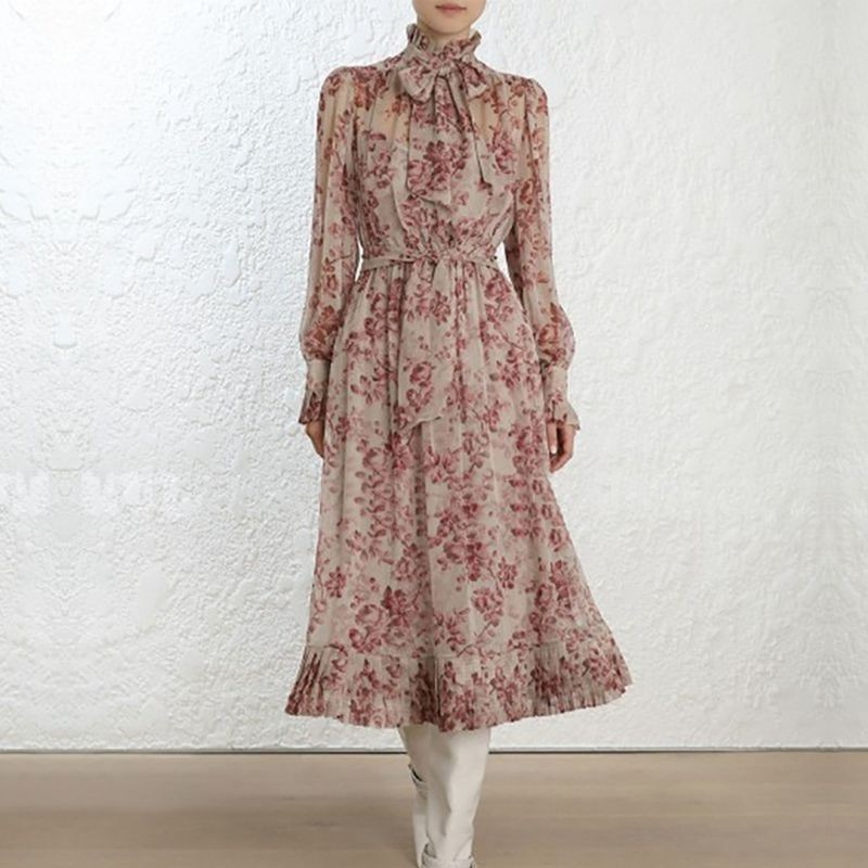 High Quality 2019 Summer Luxury Runway Design Vintage Print Dress Women Bow Ruffles Long Sleeve Bohemian