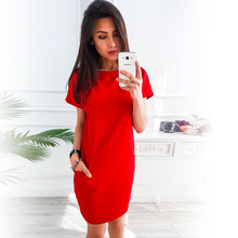 2019 summer hot European and American womens new mini dress loose casual short-sleeved pocket