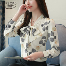 2018 New arrived women blouse OL style bow tie shir