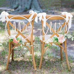 Image 3 - Diy の椅子装飾木製ぶら下げ椅子ウェディングパーティーの装飾用 Style1 一緒に & Style2 Mrs/ベター