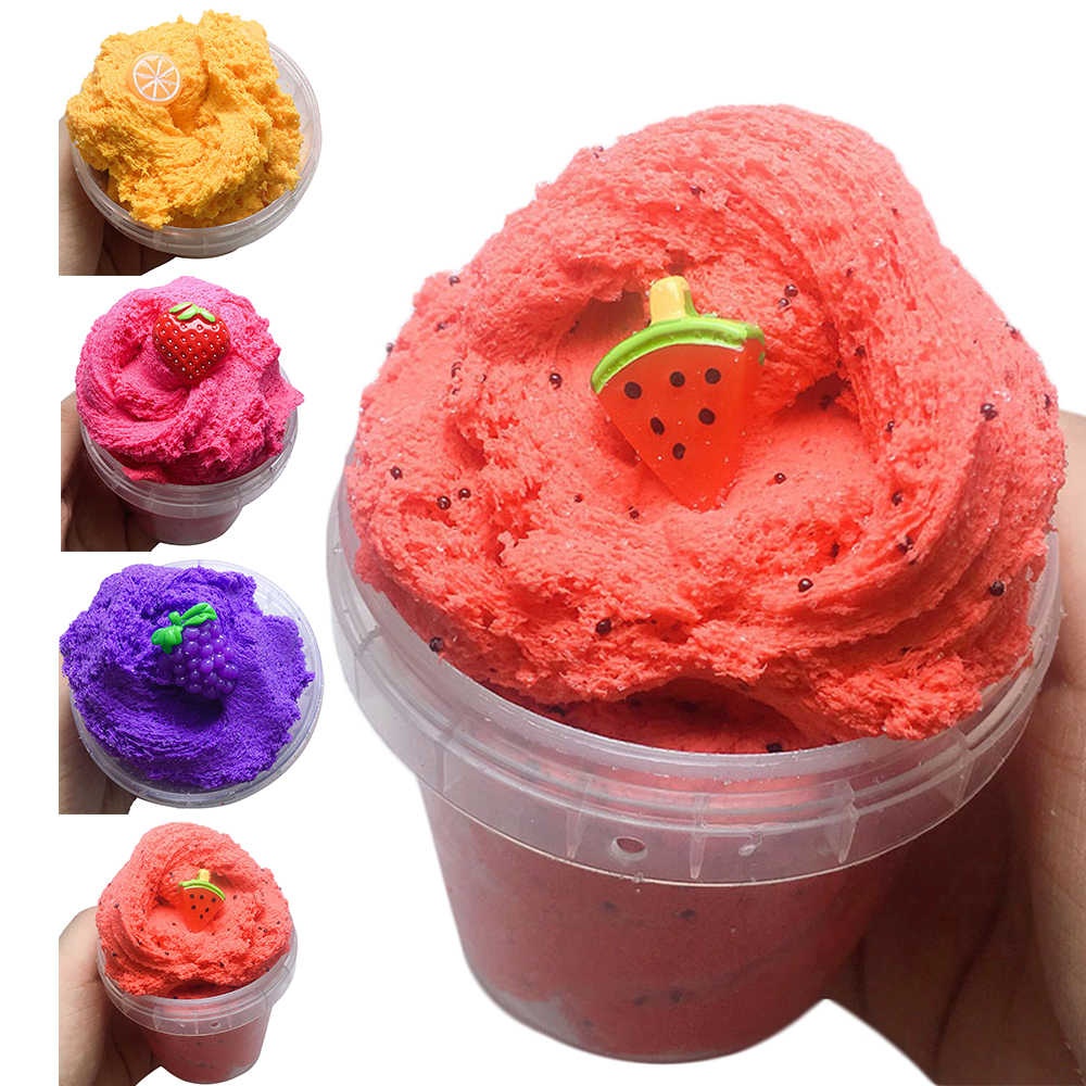 60ML Fruit Strawberry Fluffy Slime Cloud Slime Modeling Clay Rainbow Slime Toy For Kid Children Antistress Reliever Lizun Floame