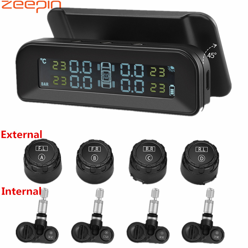 ZEEPIN C260 Tire Pressure Monitoring System Solar TPMS Universal Real-time Tester LCD Screen with 4 External Internal Sensors