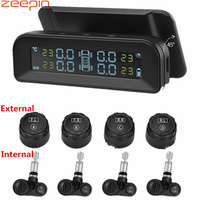 ZEEPIN C260 Tire Pressure Monitoring System Solar TPMS Universal Real time Tester LCD Screen with 4 External Internal Sensors