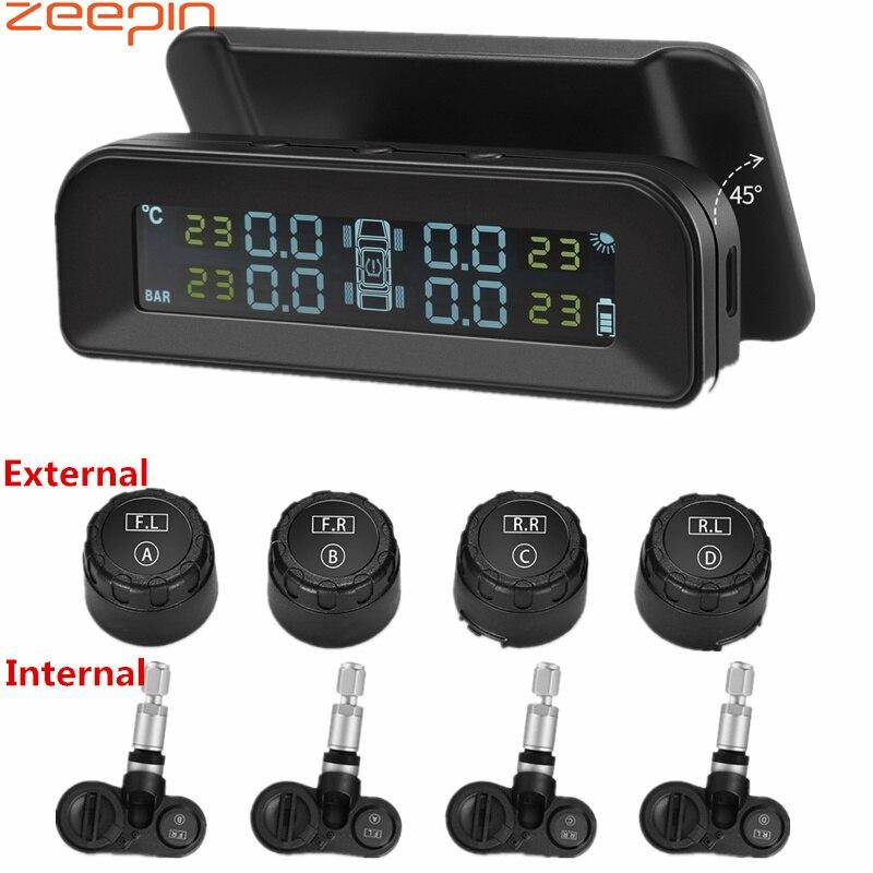 Zeepin c260 sistema de monitoramento da pressão dos pneus tpms solar universal em tempo real tester tela lcd com 4 sensores internos externos