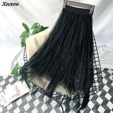 цены на Summer skirt elegant fashion tulle long pleated skirt  floral embroidery a-line lace mesh skirt women clothing new Xnxee в интернет-магазинах