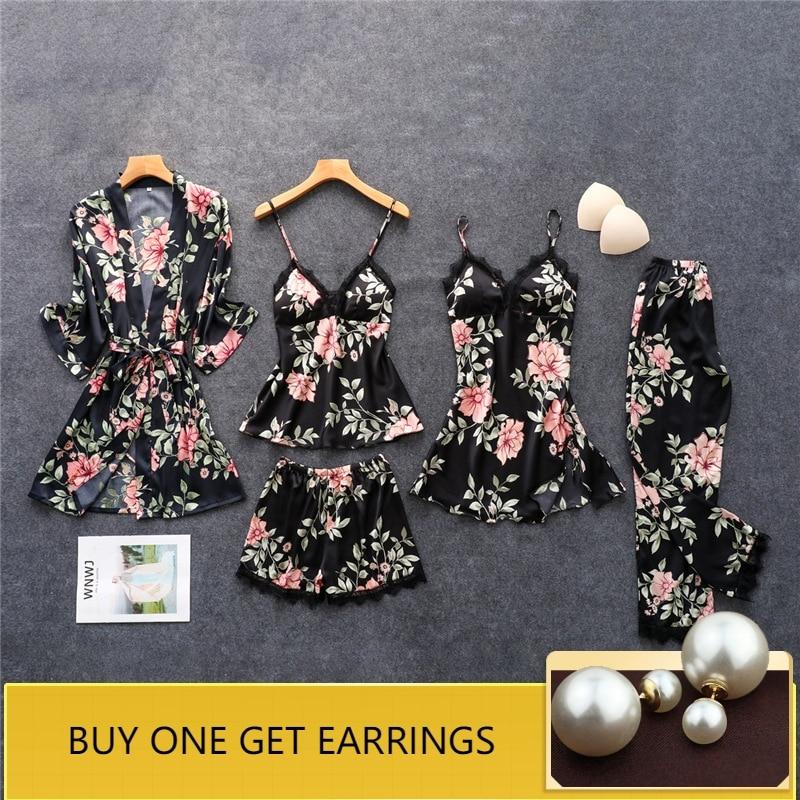 QWEEK Women Satin   Pajamas     Set   Sexy Lace Silk Pijama Flowear Print Women Sleepwear 5 Pieces   Sets   Pyjama Femme with Chest Pads