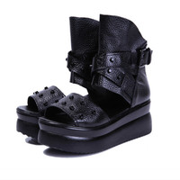 Summer Leather Thick Platform Gladiator Sandals Women Shoes Rivet Punk Rock Gothic Creeper Rome Lady Sandals Buckle