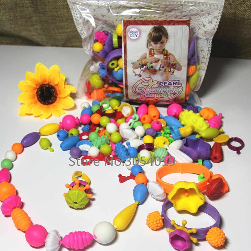100 pcs/set Neue Pop Perlen Spielzeug Snap Zusammen Schmuck Mode Kit DIY Pädagogisches Kinder Handwerk Geschenke Für Mädchen reborn spielzeug freies