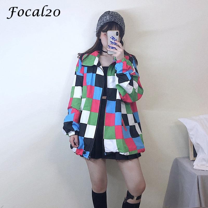 Focal20 Harajuku Hit Color Plaid Female Sun Protection Jacket Drawstring Color Block Long Sleeve Loose Zipper Women Jacket Coat 1