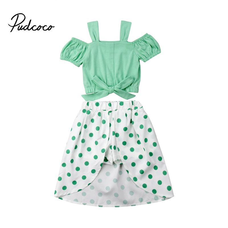 Outfits & Sets Clothing, Shoes & Accessories New Toddler Baby Girls Summer Polka Dots Outfit Cotton Stripe Tops+skirt 2pcs Buy One Give One