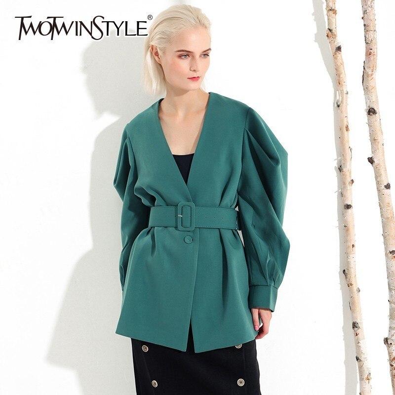 TWOTWINSTYLE Casual Womens Coat V Neck Batwing Long Sleeve Bandage Oversized Coats Female 2019 Autumn Fashion Clothes Tide