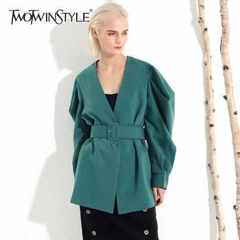 TWOTWINSTYLE Casual Womens Coat V Neck Batwing Long Sleeve Bandage Oversized Coats Female 2019 Autumn Fashion Clothes Tide - DISCOUNT ITEM  39% OFF All Category