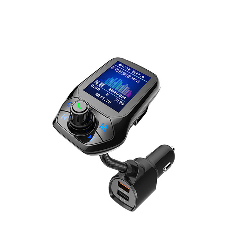 "1.8"" TFT Color Display QC3.0 Quick Charge Bluetooth Car Kit Handsfree Set FM Transmitter MP3 Music Player 3 USB Port"