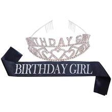 День Рождения невесты корона день рождения девушки церемониальный тиара и комплект лент вечерние сплав свадебный обруч со стразами вечерние свадебные головы Декор