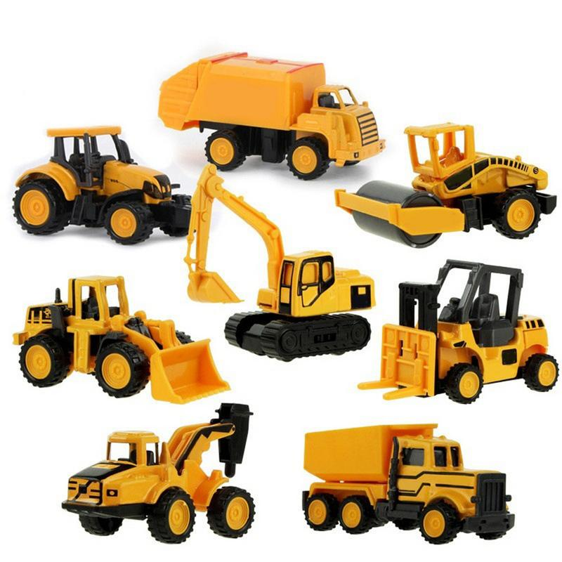 8 Types Baby Shining Car Toy Engineering Car Excavator Model Tractor Toy Dump Truck Model Classic Toy Vehicles Mini Gift For Boy